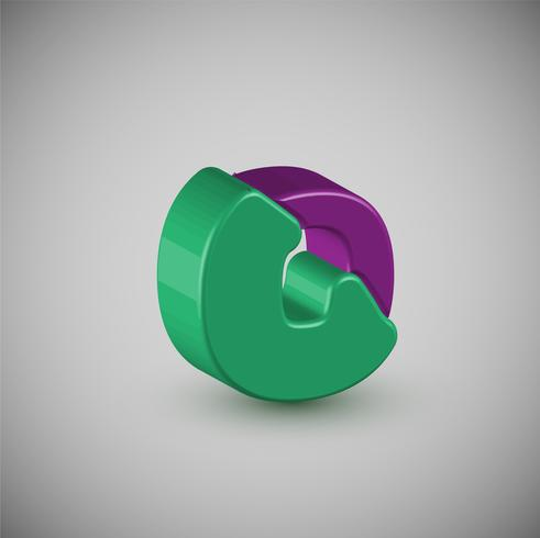 3D colorful character from a typeset, vector