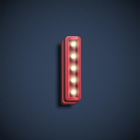 Realistisk teckensnitt med lampor, vektor illustration