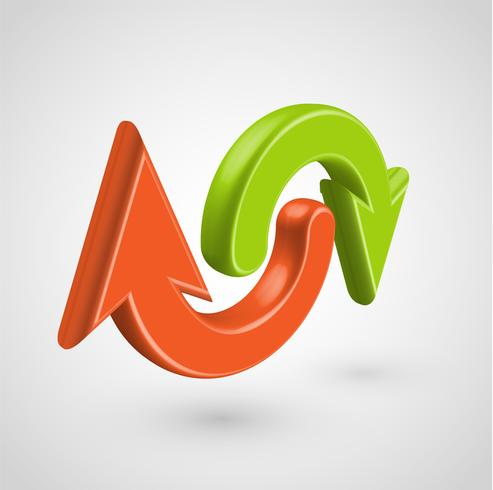 Flèches 3D réalistes, illustration vectorielle