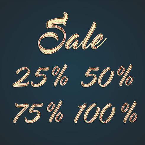 '25-50-75-100% Sale' leather signs, vector illustration