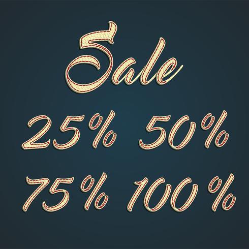 '25 -50-75-100% Sale 'lederen tekens, vectorillustratie