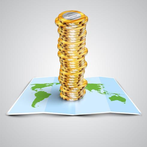 Dinero en el mapa, ilustración vectorial