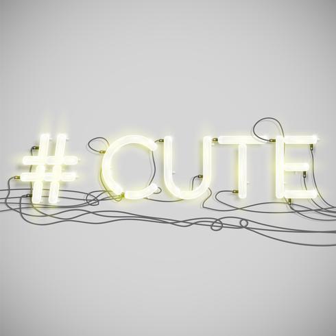 Parola di hashtag al neon realistico, illustrazione vettoriale