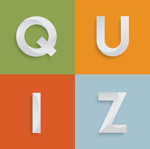 """Vier-Buchstaben-Wort """"QUIZ"""" für Website, Illustration, Vektor"""