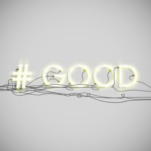 Realistisch neon hashtag woord, vectorillustratie