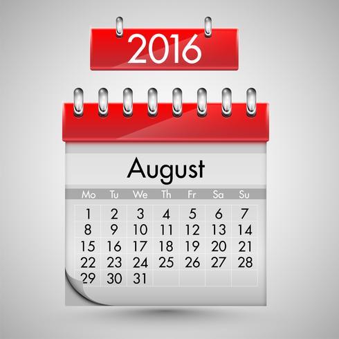 Realistische kalender met rode harde dekking, vectorillustratie