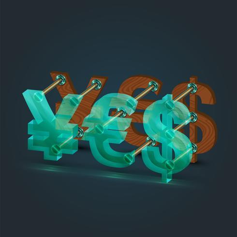 """3d finansiella tecken som bildar """"ja"""", vektor"""