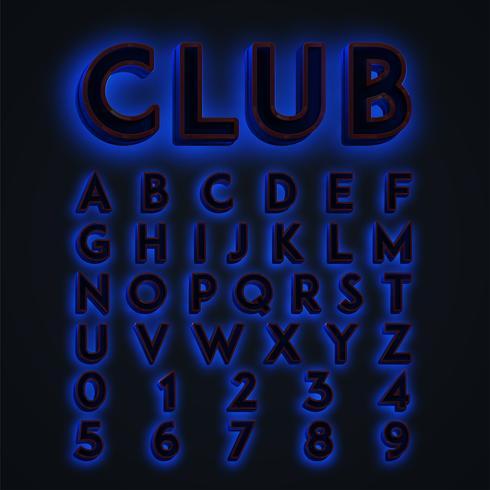 Luces de neón azules 'CLUB' tipográficas, vector
