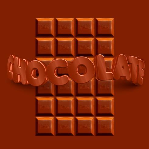 Barra de chocolate realista 3D con texto 3D 'CHOCOLATE', vector