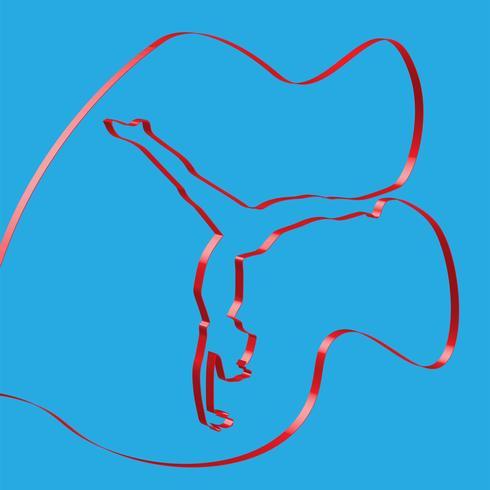Ruban coloré façonne une pose de gymnastique, vector