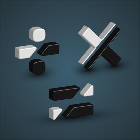 Personaje 3D en blanco y negro de un conjunto de fuentes, ilustración vectorial