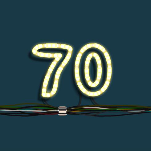 Neon garland nummer, vector