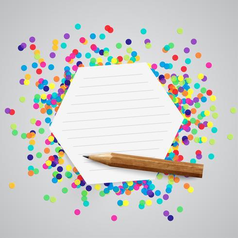 Um rótulo de papel e pontos coloridos, vetor