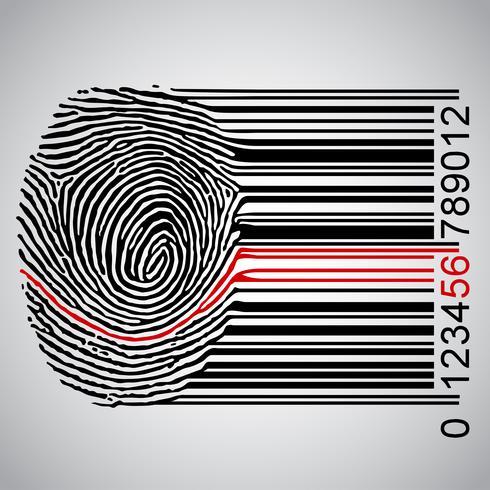 Impronta digitale che diventa codice a barre, illustrazione vettoriale