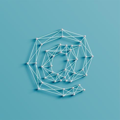 Un personaje hecho por pins y líneas, 3D y realista, vector.