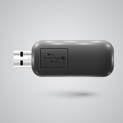 Clé USB réaliste, illustration vectorielle