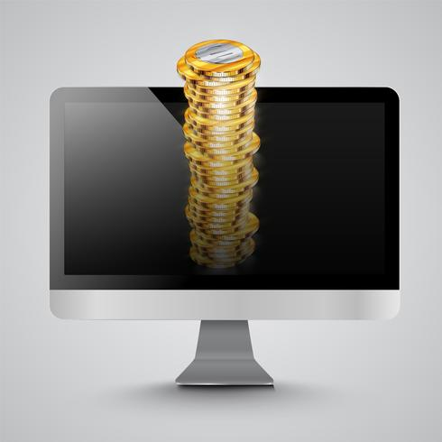 Realistic computer with money coins, vector illustration