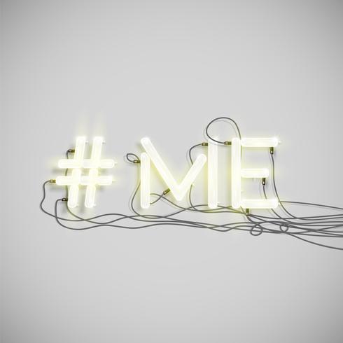 Mot de hashtag néon réaliste, illustration vectorielle