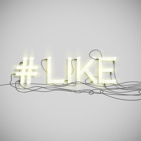 Realistic neon hashtag  word, vector illustration