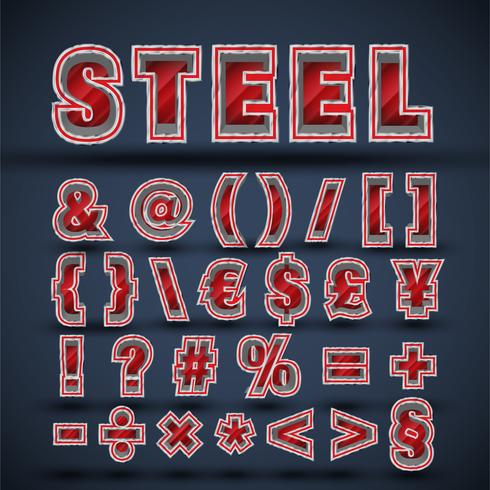 3D rött stål teckensnitt set, vektor