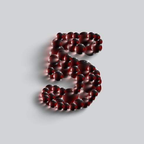 Um, número, feito, por, vermelho, esferas, vetorial vetor