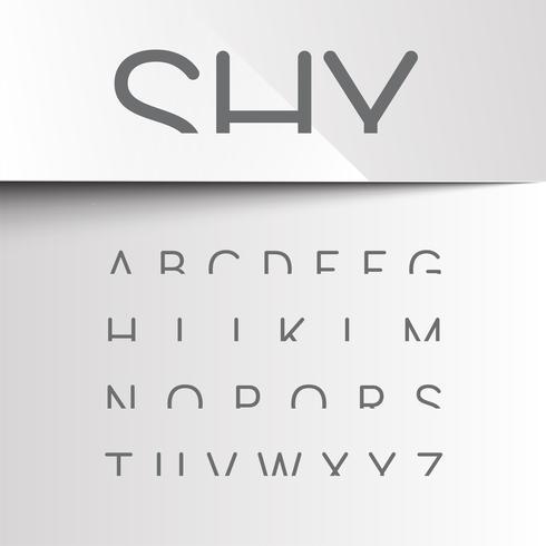 Verlegen lettertype met alleen de top van de tekens, vector
