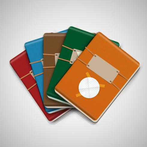 Five different colorful notebooks