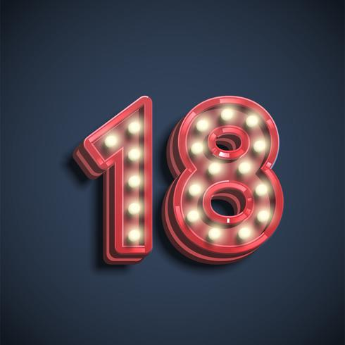 Realistic number character with lamps, vector illustration