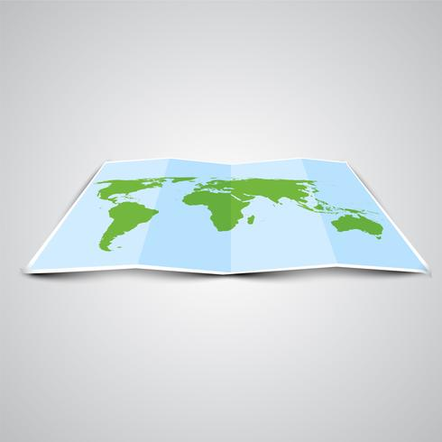 World map in 3D, vector