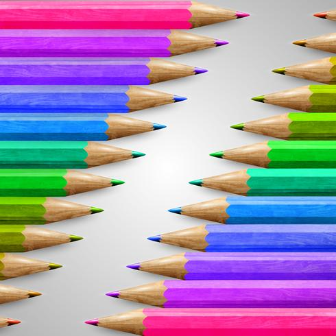 Lápices de colores de madera realista, vector
