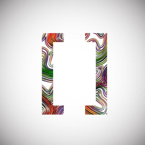 Colorful character from a typeface, vector illustration
