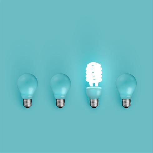 Ahorro de energía y bombillas originales, ilustración vectorial
