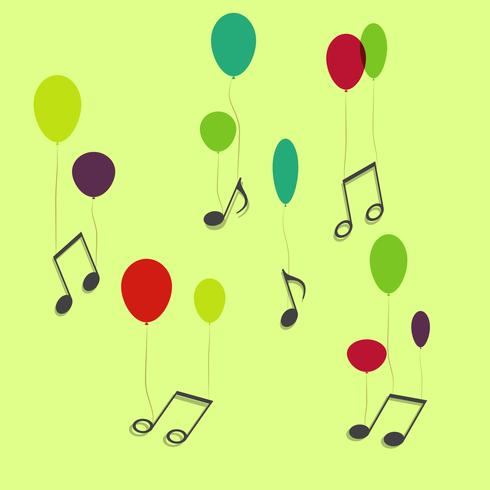 Musical notes hanging on ballons, vector