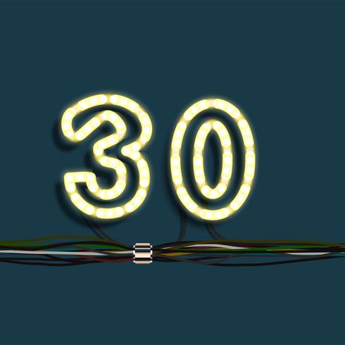 Número de festão de néon, vetor
