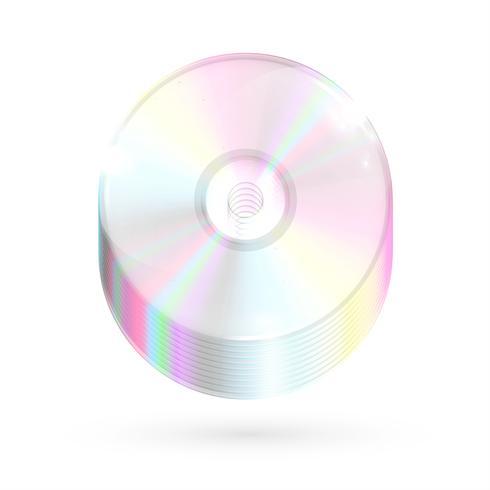 Overvloed CDs / DVDs op witte achtergrond, vectorillustratie vector