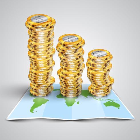Money on map, vector illustration