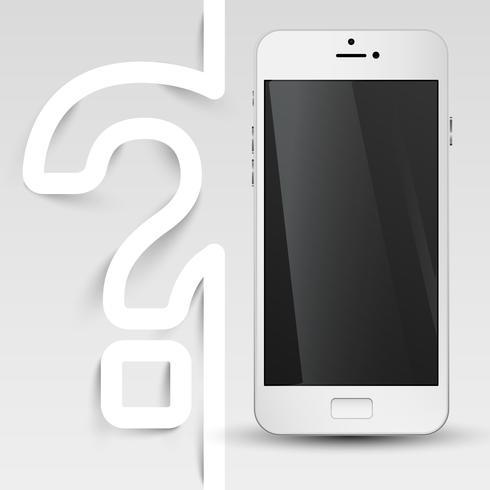Telefone blindado preto com um ponto de interrogação, vetor