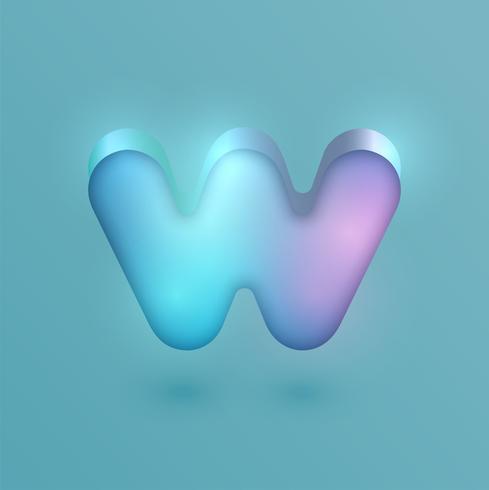 Carattere al neon realistico 3D, vettore