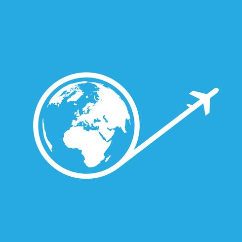 Reisen Sie um die Welt Flugzeug-Symbol