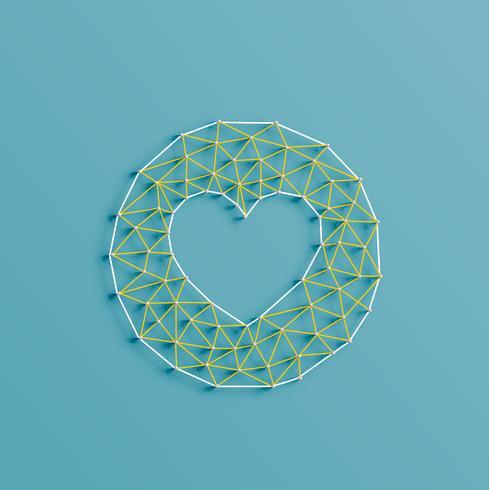 Coeur d'émoticône faite de piqûres et de broches, illustration vectorielle vecteur