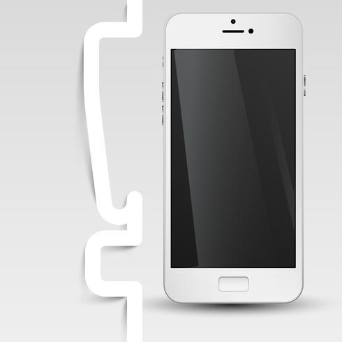 Black screened phone with an exclamation mark, vector