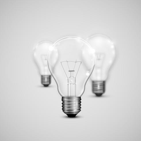 Realistic light bulbs with blurred ones, vector illustration
