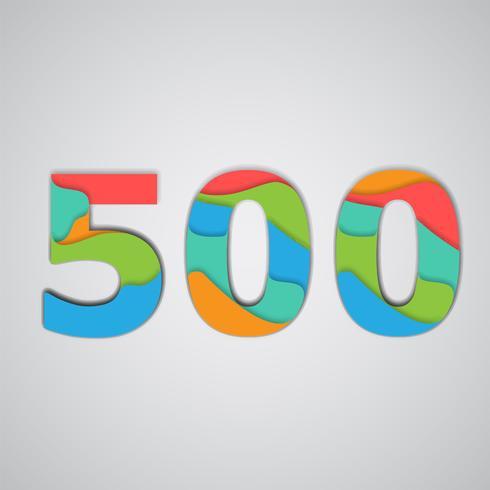 Número em camadas colorido papercut, vetor