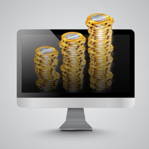 Realistischer Computer mit Geldmünzen, Vektorillustration