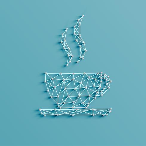 Realistische illustratie van een coffekoppictogram dat door spelden en koorden, vector wordt gemaakt
