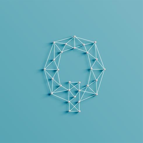 En karaktär gjord av stift och linjer, 3D och realistisk, vektor