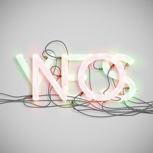 Personagem de palavra realista feita por fonte de néon, ilustração vetorial