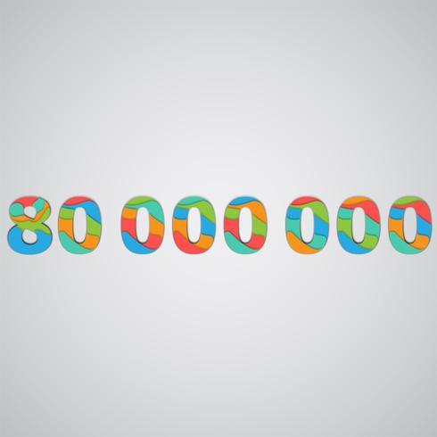 Färgglatt papperskants skiktat tal, vektor