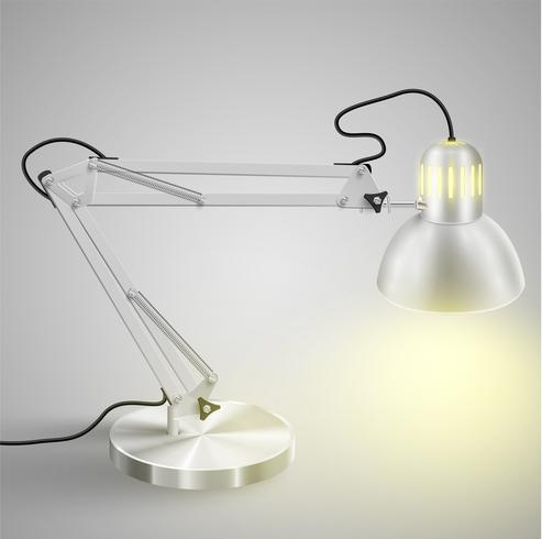 Realistic metal table lamp, vector