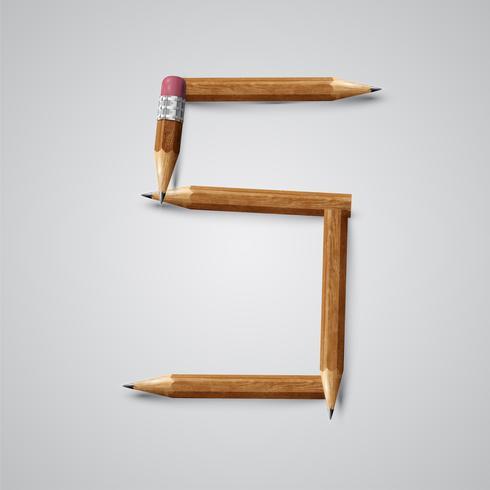 Personaje hecho de lápices de una tipografía, ilustración vectorial